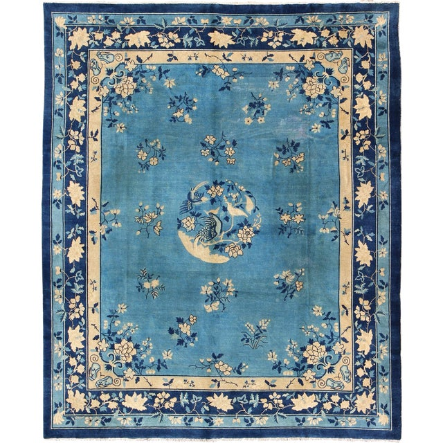 Early 20th Century Antique Chinese Peking Rug - 9′10″ × 11′8″ For Sale