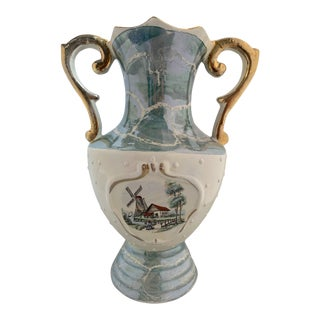 Vintage Italian Hand Painted Gold Handled Urn Vase For Sale