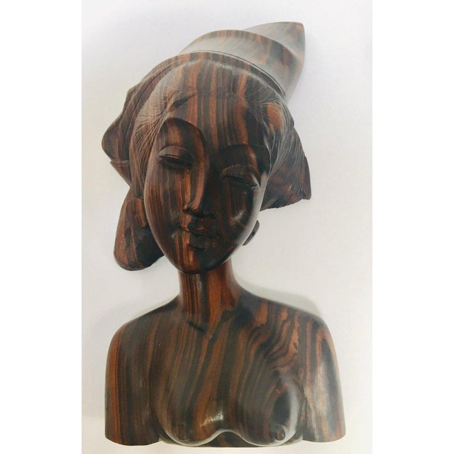 Balinese Hand Carved Wooden Busts Bookends - a Pair For Sale - Image 4 of 11