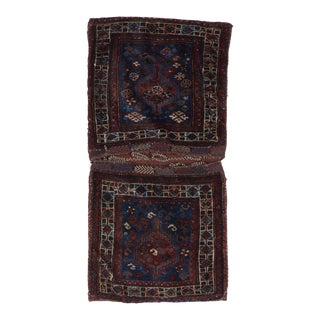 1930s Vintage Small Hand-Knotted Tribal Wool Saddlebag / Rug - 2′ × 4′2″ For Sale