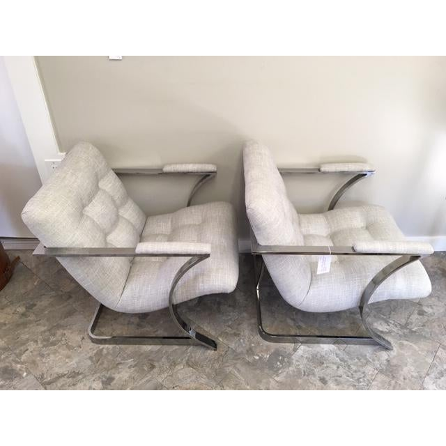 Mid-Century Modern 1970s Vintage Milo Baughman Newly Upholstered Chrome Chairs- a Pair For Sale - Image 3 of 6