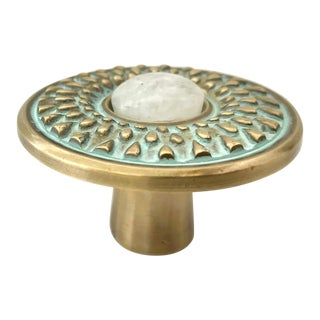 Addison Weeks Oliver Knob Small, Patina & Moonstone For Sale