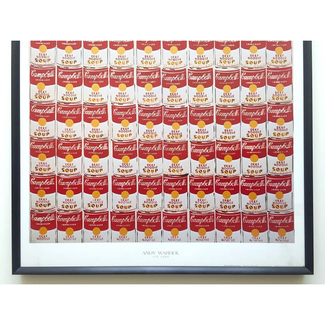 """American Andy Warhol Rare Vintage 1978 Iconic Lithograph Print Framed Collector's Pop Art Poster """" 100 Cans """" 1962 For Sale - Image 3 of 13"""