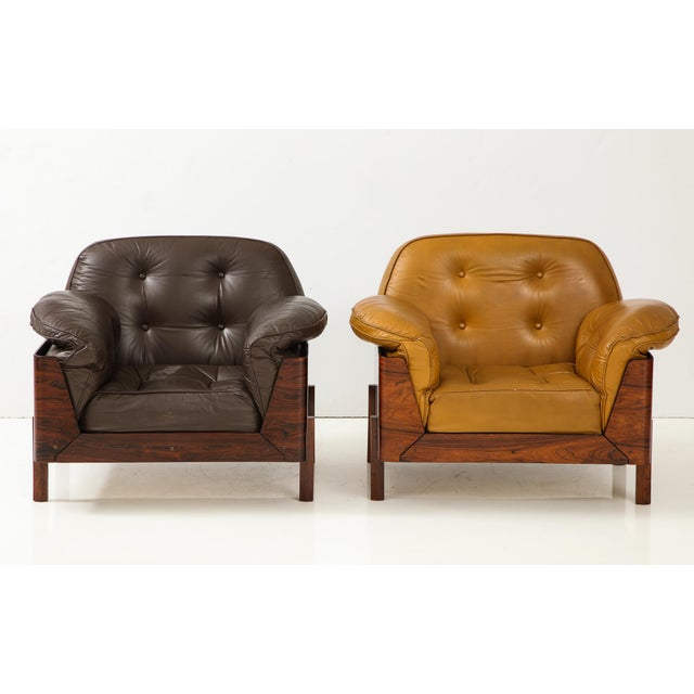 Brazilian Lounge Chair in Jacaranda and Brown Leather For Sale - Image 9 of 9