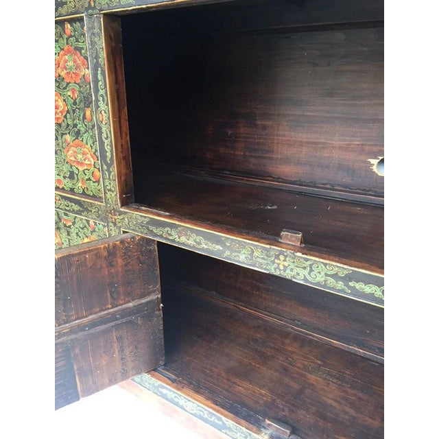 Green Vintage Chinese Tibetan Cabinet For Sale - Image 8 of 13