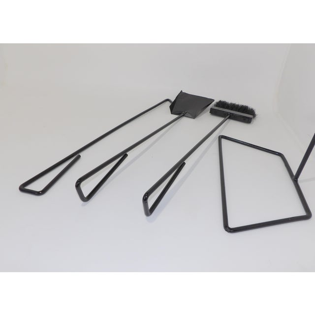 Mid-Century Modern Wrought Iron Fireplace Tool Set For Sale In Sacramento - Image 6 of 9