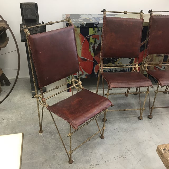 This set of Ilana Goor chairs has great patina on the metal and the original leather is in great condition. Beautiful and...