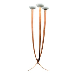 Mid 20th C Italian Floor Lamp in Copper Finish For Sale