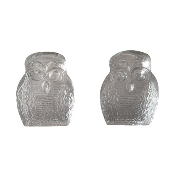 Mid-Century Glass Owl Bookends by Blenko - a Pair - Image 1 of 3