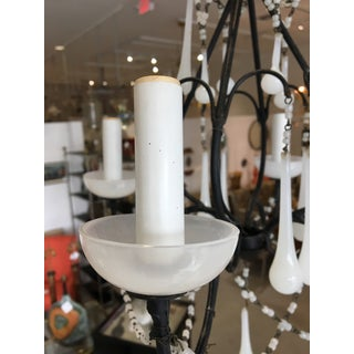 Petite Iron Chandelier With Murano White Opaline Glass Drops Preview