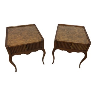Vintage Baker Furniture Mahogany and Burl Wood Side Tables - Pair For Sale