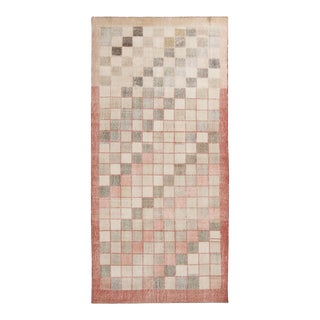 Vintage Geometric Pink and Green Wool Rug- 4′4″ × 9′3″ For Sale