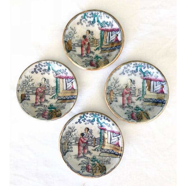 Chinoiserie Sushi / Soy Sauce Dish, Set of 4 For Sale - Image 11 of 11