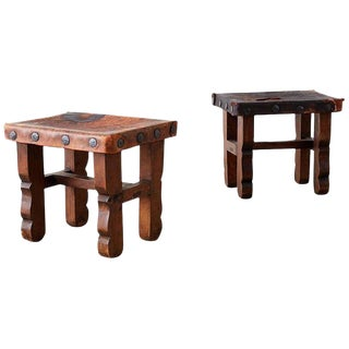 Pair of Spanish Colonial Walnut Stools With Leather Seats For Sale