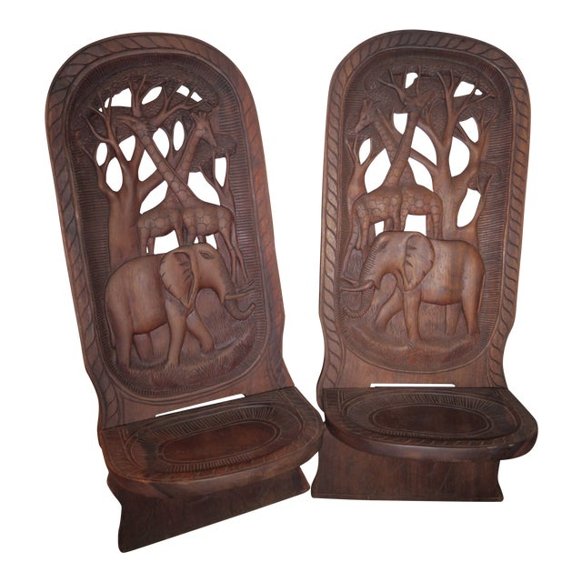 20th Century African Mahogany Bantu Carved Tribal Chief Chairs - a Pair For Sale