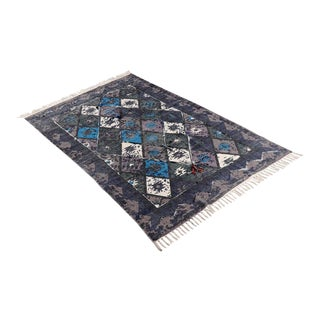 Tribal Blue Embroidered Pom Cotton Rug - 4′ × 6′ For Sale