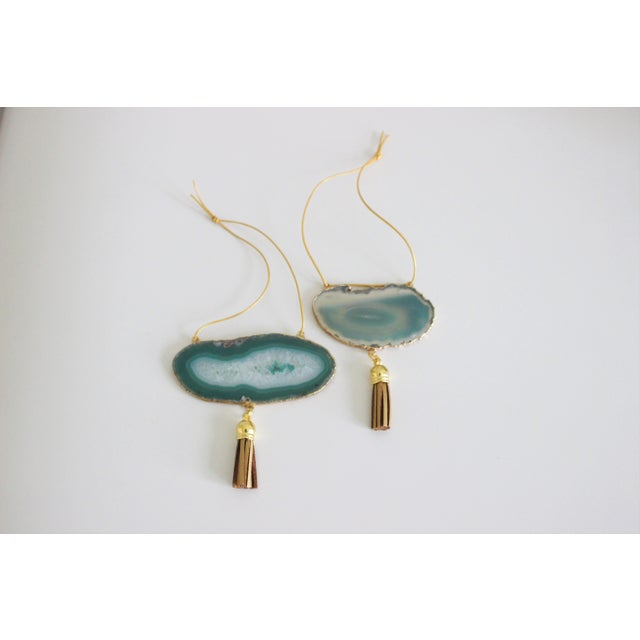 Modern Boho Green Agate Holiday Ornaments - A Pair - Image 2 of 6