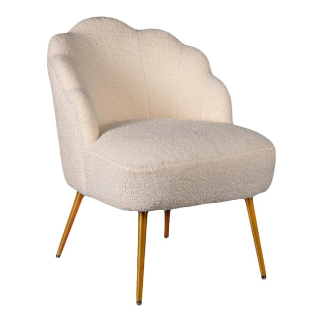 Kayla Boucle White Side Chair For Sale