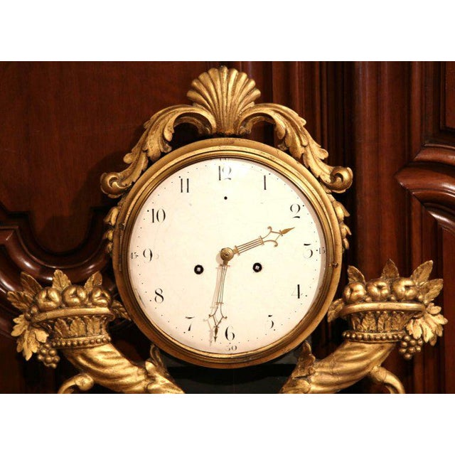 18th Century French Louis XV Carved Gilt Fruit Basket and Shell Wall Clock For Sale - Image 4 of 10