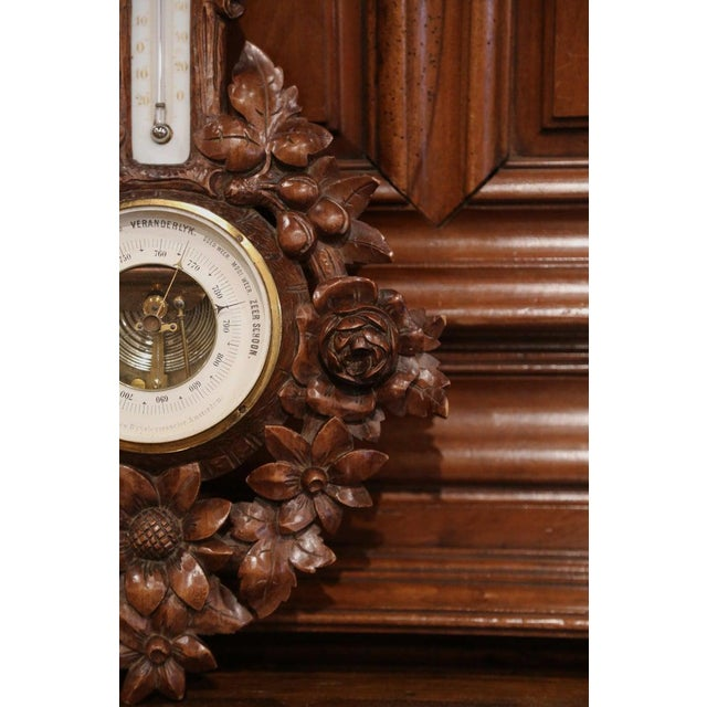 19th Century French Black Forest Carved Walnut Barometer For Sale In Dallas - Image 6 of 9