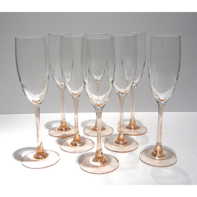 French Pink Champagne Flutes - Set of 8 For Sale - Image 4 of 11