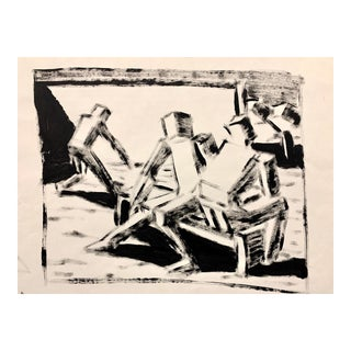 """Donald Stacy """"Cubed Figures on Bench"""" c.1950s Gouache paint on paper 24""""x18'"""" For Sale"""