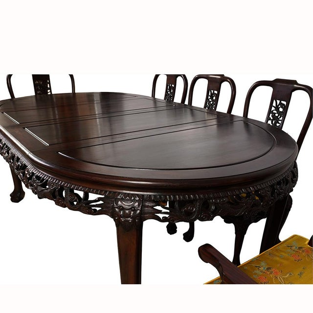 20th Century Chinese Carved Rosewood Dragon Dining Set For Sale In Los Angeles - Image 6 of 13