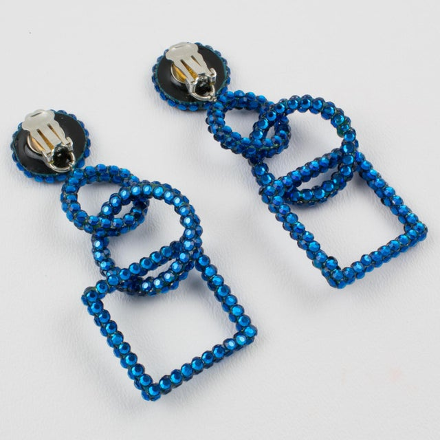 Richard Kerr Richard Kerr Dangling Geometric Clip Earrings Cobalt Blue Rhinestones Paved For Sale - Image 4 of 7