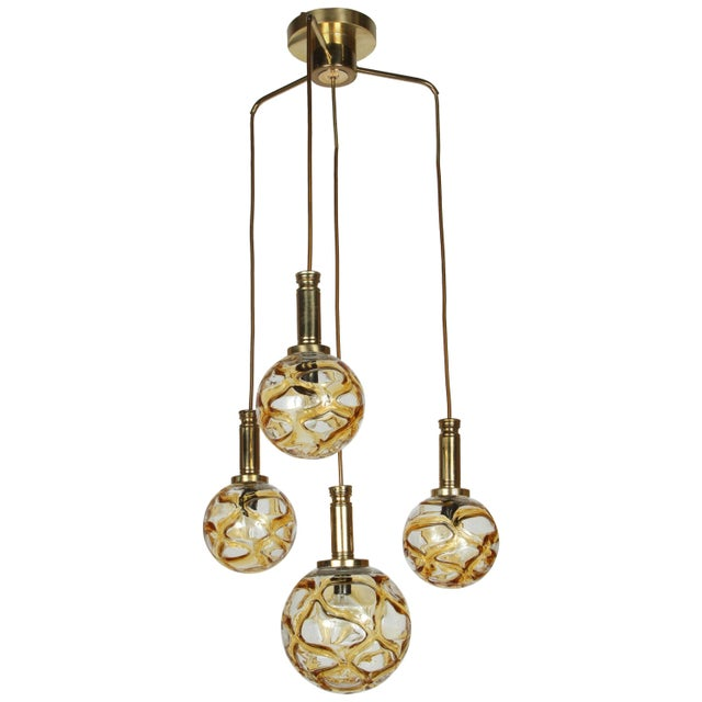 Metal 1960s Organic Globe Four-Light Fixture by Doria For Sale - Image 7 of 7