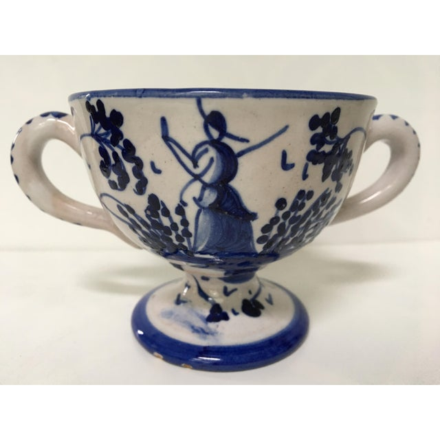 Ceramic 1950's Italian Blue & White Hand Painted Pottery/Ceramic - 4 Pc. For Sale - Image 7 of 11