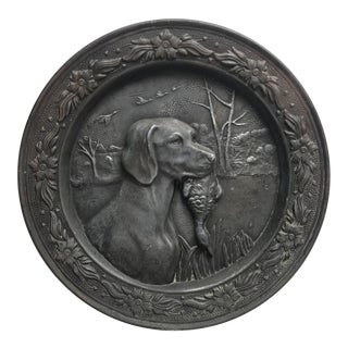 French Pewter Dog & Duck Relief Plate For Sale