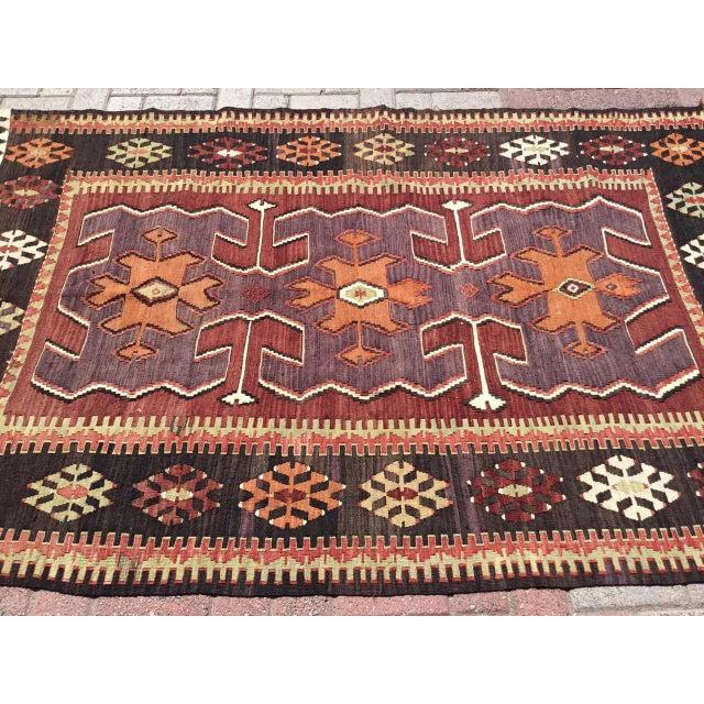Folk Art Vintage Turkish Kilim Rug For Sale - Image 3 of 10