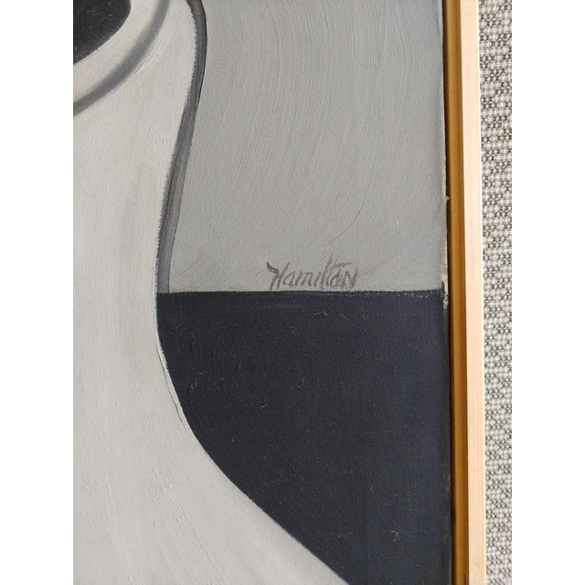 Mid Century Abstract Oil Painting on Canvas by Hamilton For Sale In Palm Springs - Image 6 of 12