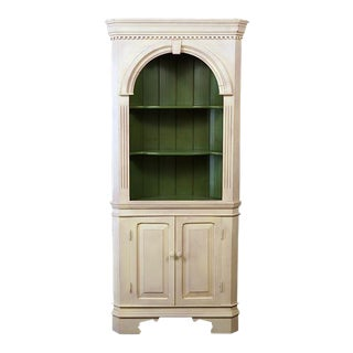 1990s Traditional Corner Crackle Cabinet For Sale
