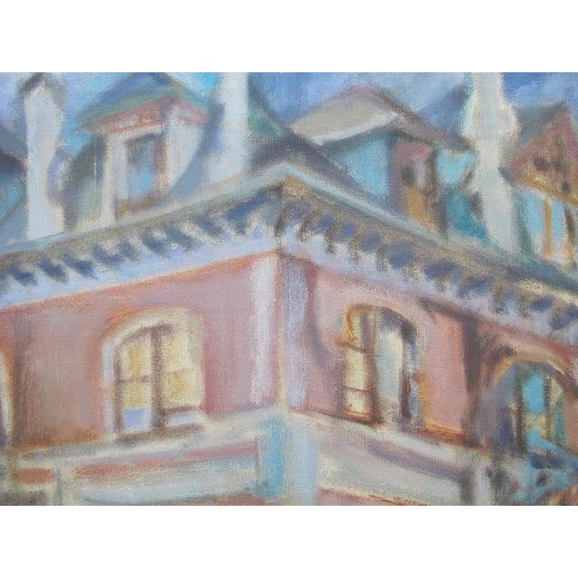 1957 LaVerne Krause Signed Idaho Coeur d'Alene Building Framed Oil Painting For Sale - Image 4 of 9