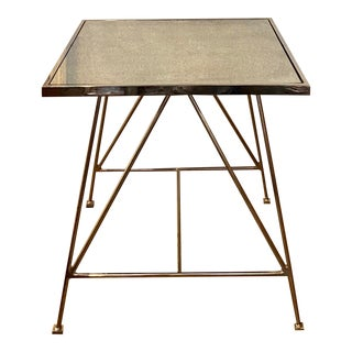 Mid-Century Modernist Distressed Mirrored Chrome Side Table For Sale