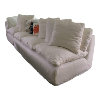 Contemporary Timothy Oulton Wave Sectional With White Linen Slipcovers