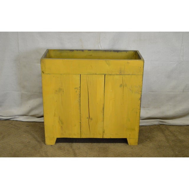 Primitive Distressed Painted Country Small Dry Sink Cabinet For Sale - Image 9 of 11