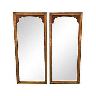 1960s Pecan Wood Wall Mirrors, Pair