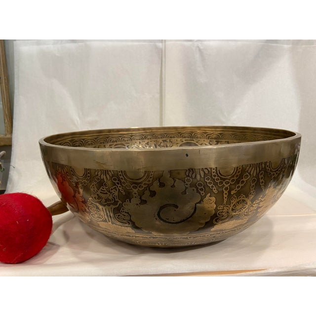 Metal Mid 20th Century Hand Made Singing Bowl with Mallet - 2 Pieces For Sale - Image 7 of 13