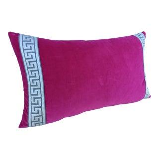 Vintage Hot Pink Schumacher Velvet and Greek Key Brocade Pillow For Sale