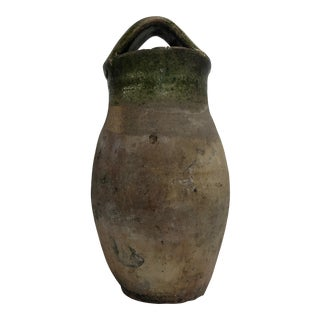 Antique Rustic Mediterranean Terra-Cotta Vintage Oil Jar For Sale