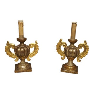 Antique Giltwood Italian Candlesticks Circa 1880 For Sale