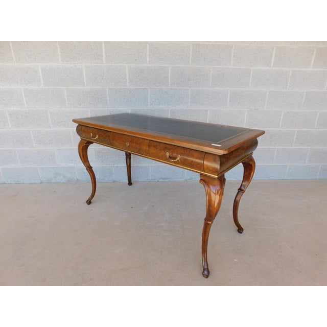 Features Fine Quality Solid Construction - 3 Dovetailed Drawers, Tooled Leather Top Writing Surface, Brass Hardware, Hoof...