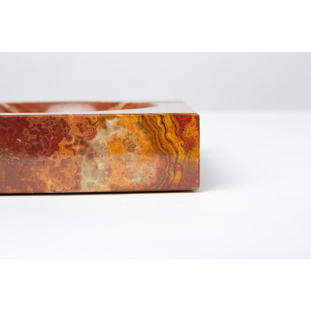White Vintage Square Ashtray in Red Onyx For Sale - Image 8 of 13