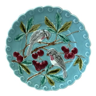 1880 French Majolica Bird and Cherries Sarreguemines Plate For Sale