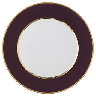 """Schubert"" Charger in Chocolate & Narrow Gold Rim For Sale"