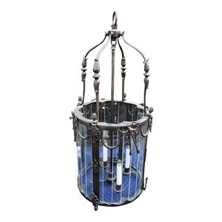 Charles Pollock Spanish Colonial Wrought Iron Designer Lantern Chandelier 1of 2 For Sale