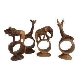 Vintage Wood African Animal Napkin Rings Set of 4