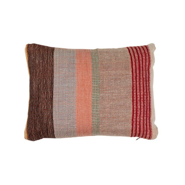 Indian Handwoven Pillow in Pastel Stripes Design For Sale In Los Angeles - Image 6 of 6